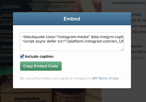Screen Shot Instagram Embedden